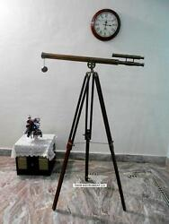 Christmas Gift Antique Nautical Brass Telescope 1 Meter With Wooden Tripod Stand