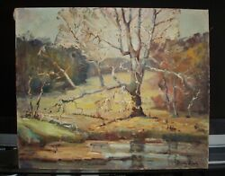 Signed Unframed Oil On Canvas Landscape Painting By Dorothy Frantz 1904-1972