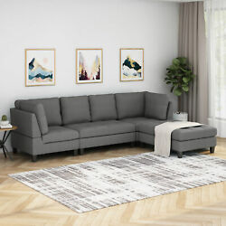 Daylon Contemporary Fabric Sectional Sofa With Ottoman