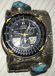 Vintage Citizen Eco Drive Andldquoskyhawk-blue Angelsandrdquo Watch Set In Silver And Turqoise