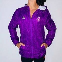 Rare Adidas Real Madrid Nylon Glanz Anthem Jacket Purple Sexy Spell-out Small