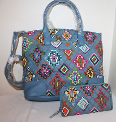 Vera Bradley Day Off Satchel Large And Zip Around Wallet Painted Medallions  New