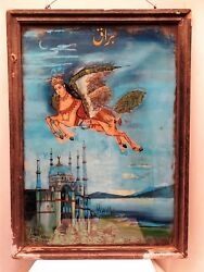 Islamic Antique Glass Painting Prophet Mohammad Burak Horse Isra And Miand039raj Coll