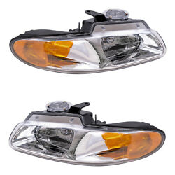 Pair Set Headlights For 96-00 Caravan Voyager Town And Country W/out Quad Lamps