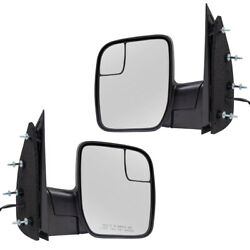 Pair Set Power Side Mirrors Sail Type Spotter Glass For 09-14 Ford E-series Van