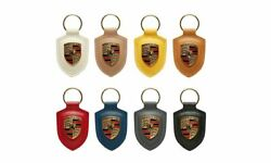 Porsche Crested Leather Key Ring Key Fob
