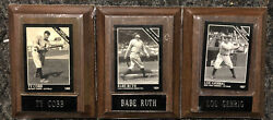 Babe Ruth/ Lou Gehrig/ Ty Cobb Sealed Wooden Card Plaques Displays With Cards