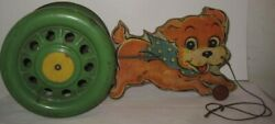 Old Wood And Paper Litho Pull Bell Toy Running Puppy Dog By Nn Hill Hampton Ct