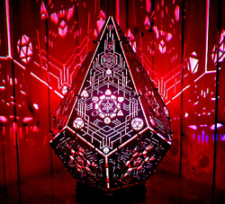 Interior Led Lamp Metatron Crystal Wooden Fixture Geometric Psychedelic Lamp
