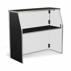 72 Folding Bar Table Black Laminate Portable Party Serving Table With Shelf