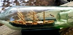 C. 1920 French Indented Pontil Ship In Bottle Folk Art Whimsy Mint Condition