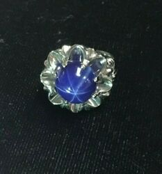 14k Solid White Gold Six Point Blue Sapphire Size 4.5 Weight 10.1 Gram