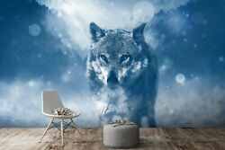 3d Woods Night Wolf P27 Animal Wallpaper Mural Self-adhesive Removable Zoe