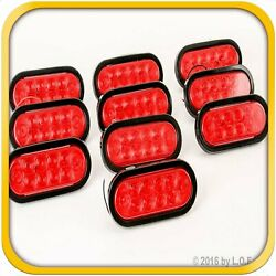 10 Red 6 Oval Trailer Truck Lights 10 Led Stop Turn Tail Sealed W Grommet Plug