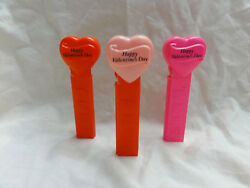 Pez Lot 3 Happy Valentine's Day Red/pink/hot Pink Heart 4.9 Hungary 1996
