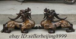 23 Rare Chinese Dynasty Pure Bronze Copper Fengshui Animal Unicorn Statue Pair
