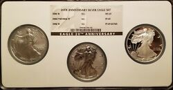 Ngc Ms Pf 69 2006 American Silver Eagle One Dollar 20th Anniversary 3 Coin Set