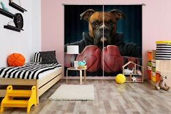 3d Boxer Dog Boxing Club P617 Window Photo Curtain Printing Fabric Vincent Amy