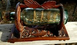 Signed 1901 Ship In Bottle Folk Art Whimsy Museum Quality Hand-carved Stand Usa