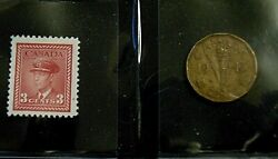 Canada 1943 Victory Tombac 'nickel' Five 5 Cents Coin + King George Vi Stamp