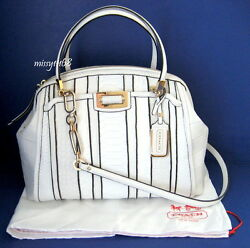 Nwt Coach Madison Domed Satchel In Exotic Stripe Leather 30103 Li/white Multi