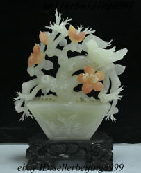 Old Chinese Afghanistan Jade Stone Carving Plum Blossom Flower Bird Bowl Statue