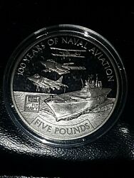 Commemorative Andpound5 Coin 100 Years Of Naval Aviation 2009 Bailiwick Guernsey And Case