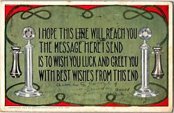 Candlestick Telephones Good Luck Best Wishes c1912 Vintage Postcard X21