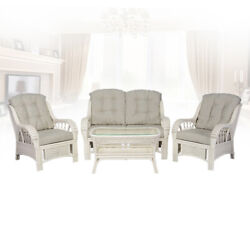 Natural Rattan Alexa Living Room Set 4 Piece 2 Chair Loveseat Coffee Table,white