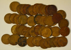 Roll Of 50 1933 Lincoln Wheat Pennies Small Cents Good To Very Fine Most Vg-f