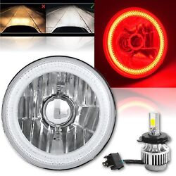 5-3/4 Motorcycle Red Cob Halo Crystal Clear Headlight And H4 6k Led Bulb Each 1x