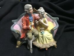 Vintage Figurine Courting Victorian Couple Sitting on Couch Cucci Royal Crown