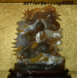 China Agate Carving Kylin Chi-lin Qilin Beast Ball Dragon Loong Ornament Statue