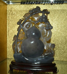 Chinese 100 Natural Agate Hand-carving Gourd Tree Animal Monkey Ornament Statue