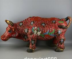Chinese Red Porcelain Pottery Dragon Phoenix Ox Oxen Bull Cattle Animal Statue