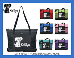PUPPY DOG W NAME CUSTOM TOTE BAG PURSE SCHOOL TRAVEL SPORTS OVERNIGHT BAG $19.98