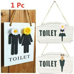 1pc Toilet Hanging Sign Simple Durable Creative Restroom Sign for Home Apartment