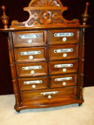 Antique Spice Box Oak With Blue And White Porcelain Labels Germany 9 Drawer C.1900