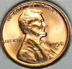 1958-d Wheat Cent Uncirculated Gem Red [sn17] You Will Receive The Coin Shown