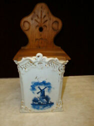 Antique Delft Salt Box Hanging Blue And White C.1890 Hand Painted Very Rare