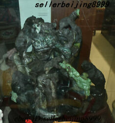 Chinese Jade Stone Carving Feng shui Animal Bear Mountain Wealth Ornament Statue