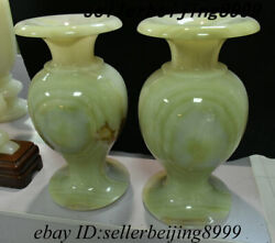 Chinese Natural Jade Stone Carving Flower Bottle Wine Vase Flask Winebottle Pair