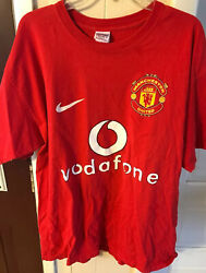 Manchester United 02-04 Nike Home Football T Shirt Men's Size Xl Jersey Us Tour