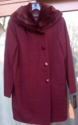 Nwt Womenand039s Caruana Coat Real Rex Rabbit Collar Italy Wool Msrp 1375 Gorgeous