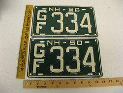 1950 50 New Hampshire Nh License Plate Pair Set Sg334 Grafton County Near Mint