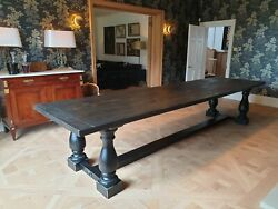 Hand Made Dining Table With Balustrade Leg Seats 12