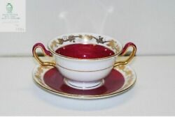 3 Wedgwood Whitehall 3994 Powder Ruby Cream Soup And Saucer