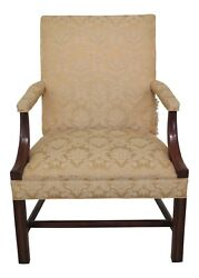 48641ec Hickory Chair Co Chippendale Mahogany Open Arm Chair