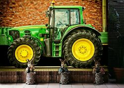 3d Green Tractor S92 Transport Wallpaper Mural Self-adhesive Removable Sunday