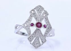 Diamond And Pink Colored Stone 10 Kt White Gold Ring